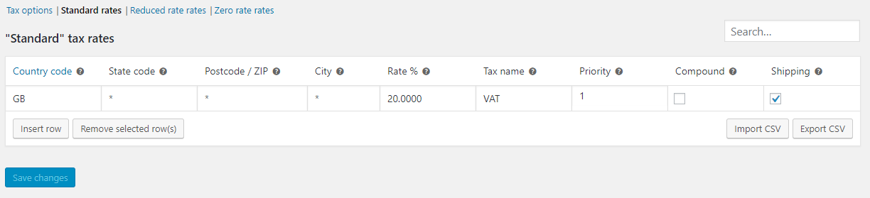WooCommerce Tax codes